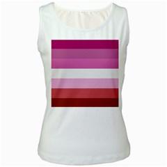 Lesbian Pride Flag Women s White Tank Top