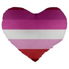 Lesbian Pride Flag Large 19  Premium Heart Shape Cushions