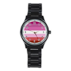 Lesbian Pride Flag Stainless Steel Round Watch