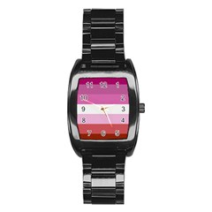 Lesbian Pride Flag Stainless Steel Barrel Watch