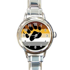Bear Pride Flag Round Italian Charm Watch