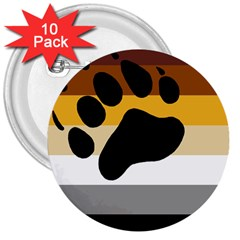 Bear Pride Flag 3  Buttons (10 Pack)
