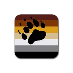Bear Pride Flag Rubber Square Coaster (4 Pack)