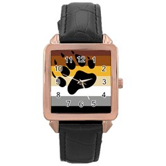 Bear Pride Flag Rose Gold Leather Watch
