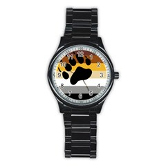 Bear Pride Flag Stainless Steel Round Watch
