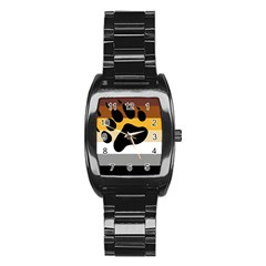 Bear Pride Flag Stainless Steel Barrel Watch