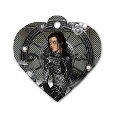 Steampunk, Steampunk Lady, Clocks And Gears In Silver Dog Tag Heart (two Sides)