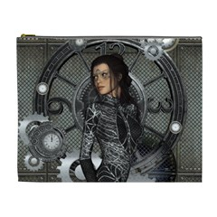 Steampunk, Steampunk Lady, Clocks And Gears In Silver Cosmetic Bag (xl)