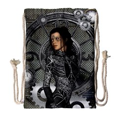 Steampunk, Steampunk Lady, Clocks And Gears In Silver Drawstring Bag (large)