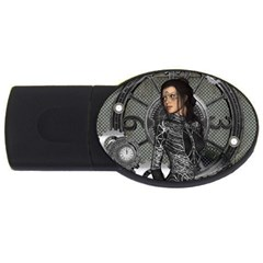 Steampunk, Steampunk Lady, Clocks And Gears In Silver Usb Flash Drive Oval (2 Gb)