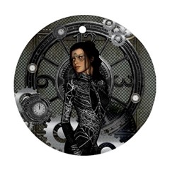 Steampunk, Steampunk Lady, Clocks And Gears In Silver Round Ornament (two Sides)