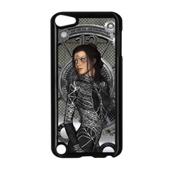 Steampunk, Steampunk Lady, Clocks And Gears In Silver Apple Ipod Touch 5 Case (black)