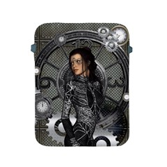 Steampunk, Steampunk Lady, Clocks And Gears In Silver Apple Ipad 2/3/4 Protective Soft Cases