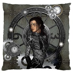 Steampunk, Steampunk Lady, Clocks And Gears In Silver Large Flano Cushion Case (two Sides)