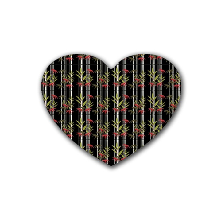 Bamboo pattern Rubber Coaster (Heart)