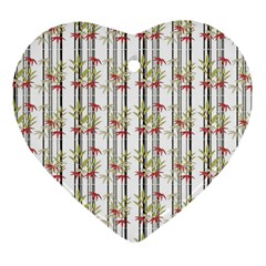 Bamboo Pattern Heart Ornament (two Sides)