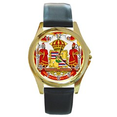 Kingdom Of Hawaii Coat Of Arms, 1850 1893 Round Gold Metal Watch