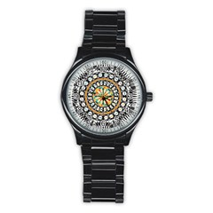 High Contrast Mandala Stainless Steel Round Watch