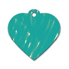 Background Green Abstract Dog Tag Heart (two Sides)