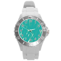 Background Green Abstract Round Plastic Sport Watch (l)