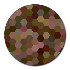 Brown Background Layout Polygon Round Mousepads