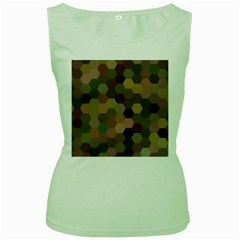 Brown Background Layout Polygon Women s Green Tank Top