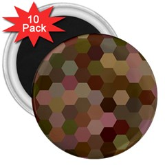 Brown Background Layout Polygon 3  Magnets (10 Pack)