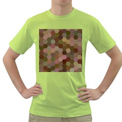 Brown Background Layout Polygon Green T Shirt