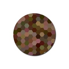 Brown Background Layout Polygon Rubber Round Coaster (4 Pack)