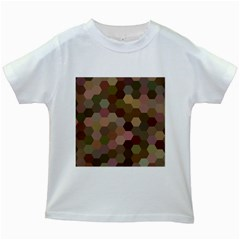 Brown Background Layout Polygon Kids White T Shirts