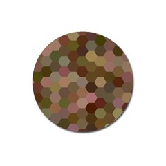 Brown Background Layout Polygon Magnet 3  (round)