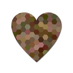 Brown Background Layout Polygon Heart Magnet
