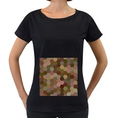 Brown Background Layout Polygon Women s Loose Fit T Shirt (black)