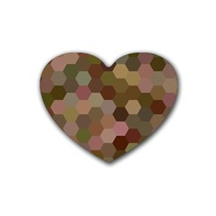 Brown Background Layout Polygon Rubber Coaster (heart)