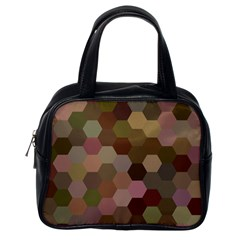 Brown Background Layout Polygon Classic Handbags (one Side)