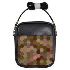 Brown Background Layout Polygon Girls Sling Bags