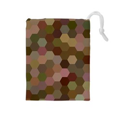 Brown Background Layout Polygon Drawstring Pouches (large)