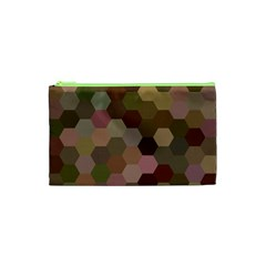 Brown Background Layout Polygon Cosmetic Bag (xs)