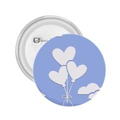 Clouds Sky Air Balloons Heart Blue 2 25  Buttons