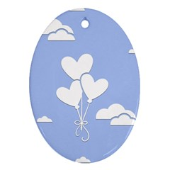 Clouds Sky Air Balloons Heart Blue Ornament (oval)
