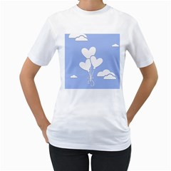 Clouds Sky Air Balloons Heart Blue Women s T Shirt (white) (two Sided)