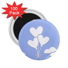 Clouds Sky Air Balloons Heart Blue 2 25  Magnets (100 Pack)