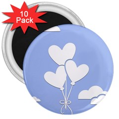 Clouds Sky Air Balloons Heart Blue 3  Magnets (10 Pack)