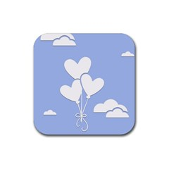 Clouds Sky Air Balloons Heart Blue Rubber Square Coaster (4 Pack)