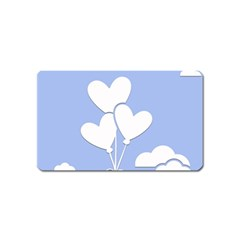 Clouds Sky Air Balloons Heart Blue Magnet (name Card)