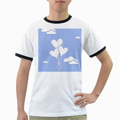 Clouds Sky Air Balloons Heart Blue Ringer T Shirts