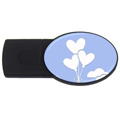 Clouds Sky Air Balloons Heart Blue Usb Flash Drive Oval (4 Gb)