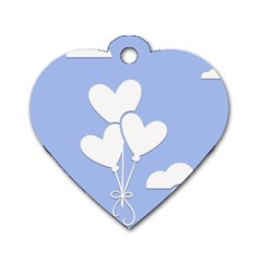 Clouds Sky Air Balloons Heart Blue Dog Tag Heart (two Sides)