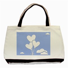 Clouds Sky Air Balloons Heart Blue Basic Tote Bag (two Sides)