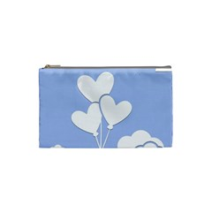 Clouds Sky Air Balloons Heart Blue Cosmetic Bag (small)